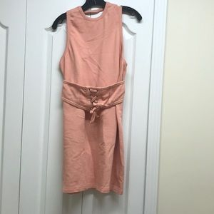ASOS peach dress with attachable peasant belt
